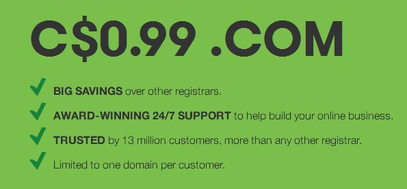 99 cent godaddy domain code