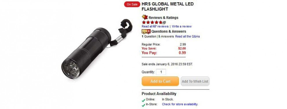 HRS metal led flashlight 99 cents the source