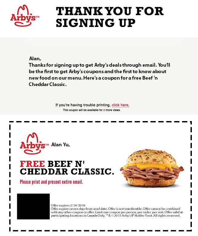 arby's coupon sign up