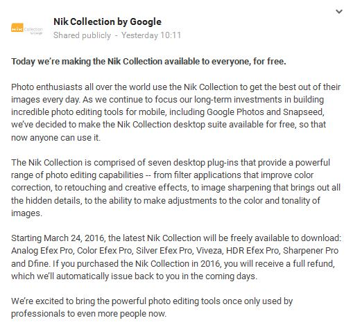 free nik collection download announcement