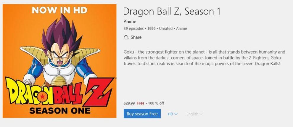 dragon ball z season 1 free 100 percent off