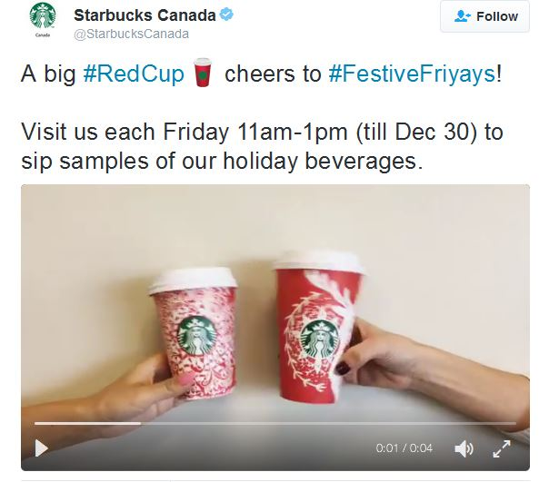 A big #RedCup cheers to #FestiveFriyays! Friday 11am-1pm (till Dec 30) to sip samples of our holiday beverages.